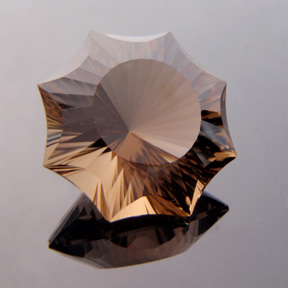 Smokey Quartz, Concave Octagon Star, #c36 - Doug Menadue :: Bespoke Gems - Master gemcutter and lapidary artist specialising in fine custom cut precision gems from a wide range of select facet gem rough. Located in Sydney, Australia.