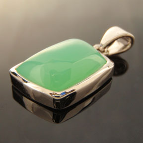 Chrysoprase, Cabochon in Silver Setting, #cab2 - Doug Menadue :: Bespoke Gems - Master gemcutter and lapidary artist specialising in fine custom cut precision gems from a wide range of select facet gem rough. Located in Sydney, Australia.