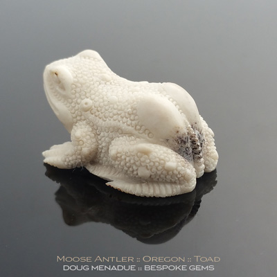 Moose Antler Natural Fall, Toad Carving, Oregon, #c10, A beautiful natural Moose Antler Natural Fall Toad Carving from Oregon. Doug Menadue :: Bespoke Gems :: WWW.BESPOKE-GEMS.COM - Finest Precision Gemcutting Based In Sydney Australia
