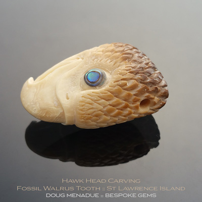 Fossil Walrus Tooth, Hawk Head Carving, St Lawrence Island, Alaska, #c3, A beautiful natural Fossil Walrus Tooth from St Lawrence Island, Alaska. Doug Menadue :: Bespoke Gems :: WWW.BESPOKE-GEMS.COM - Finest Precision Gemcutting Based In Sydney Australia