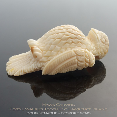 Fossil Walrus Tooth, Hawk Carving, St Lawrence Island, Alaska, #c6, A beautiful natural Fossil Walrus Tooth from St Lawrence Island, Alaska. Doug Menadue :: Bespoke Gems :: WWW.BESPOKE-GEMS.COM - Finest Precision Gemcutting Based In Sydney Australia