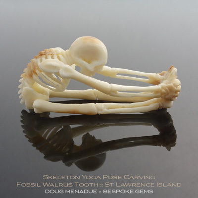 Fossil Walrus Tooth, Skeleton Yoga Pose Head, St Lawrence Island, Alaska, #c7, A beautiful natural Fossil Walrus Tooth from St Lawrence Island, Alaska. Doug Menadue :: Bespoke Gems :: WWW.BESPOKE-GEMS.COM - Finest Precision carvings Gemcutting Based In Sydney Australia