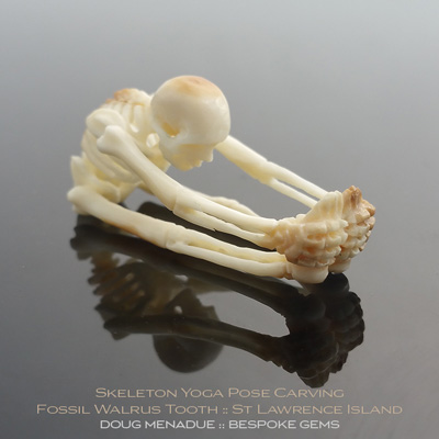 Fossil Walrus Tooth, Skeleton Yoga Pose Carving, St Lawrence Island, Alaska, #c7, A beautiful natural Fossil Walrus Tooth from St Lawrence Island, Alaska. Doug Menadue :: Bespoke Gems :: WWW.BESPOKE-GEMS.COM - Finest Precision Gemcutting Based In Sydney Australia