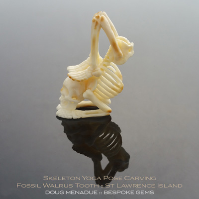 Fossil Walrus Tooth, Skeleton Yoga Pose Carving, St Lawrence Island, Alaska, #c8, A beautiful natural Fossil Walrus Tooth from St Lawrence Island, Alaska. Doug Menadue :: Bespoke Gems :: WWW.BESPOKE-GEMS.COM - Finest Precision Gemcutting Based In Sydney Australia
