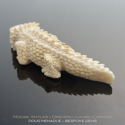 Moose Antler Natural Fall, Lizard Carving, Oregon, #c9, A beautiful natural Moose Antler Natural Fall Lizard Carving from Oregon. Doug Menadue :: Bespoke Gems :: WWW.BESPOKE-GEMS.COM - Finest Precision Gemcutting Based In Sydney Australia