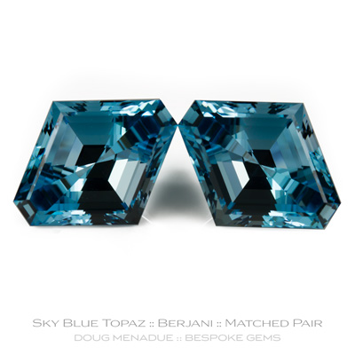Sky Blue Topaz, Berjani, Brazil, 13.49, 13.13 Carats, 18x15x9.49mm, #1005, A stunning matched pair of sky blue topaz cut to order. Doug Menadue :: Bespoke Gems :: WWW.BESPOKE-GEMS.COM - Finest Precision Custom Gemcutting Based In Sydney Australia - Doug Menadue :: Bespoke Gems - Master gemcutter and lapidary artist specialising in fine custom cut precision gems from a wide range of select facet gem rough. Located in Sydney, Australia.