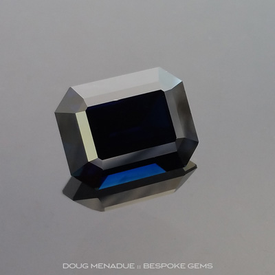 Blue Black Sapphire, Emerald Cut, Rubyvale, Central Queensland, Australia, 7.05 Carats, 12.1X9.4X6.4mm, #102991, A magnificent natural black sapphire from the Australian sapphire gemfields. Doug Menadue :: Bespoke Gems