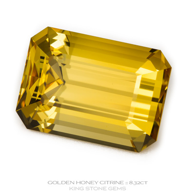 Golden Honey Citrine, Emerald Cut, Brazil, 8.32 Carats, 14.09x10.09x8.26mm, #1035, A very fine natural Golden Honey Citrine which has been cut in the wonderful Emerald Cut design. Doug Menadue :: Bespoke Gems :: WWW.BESPOKE-GEMS.COM - Finest Precision Custom Gemcutting Based In Sydney Australia