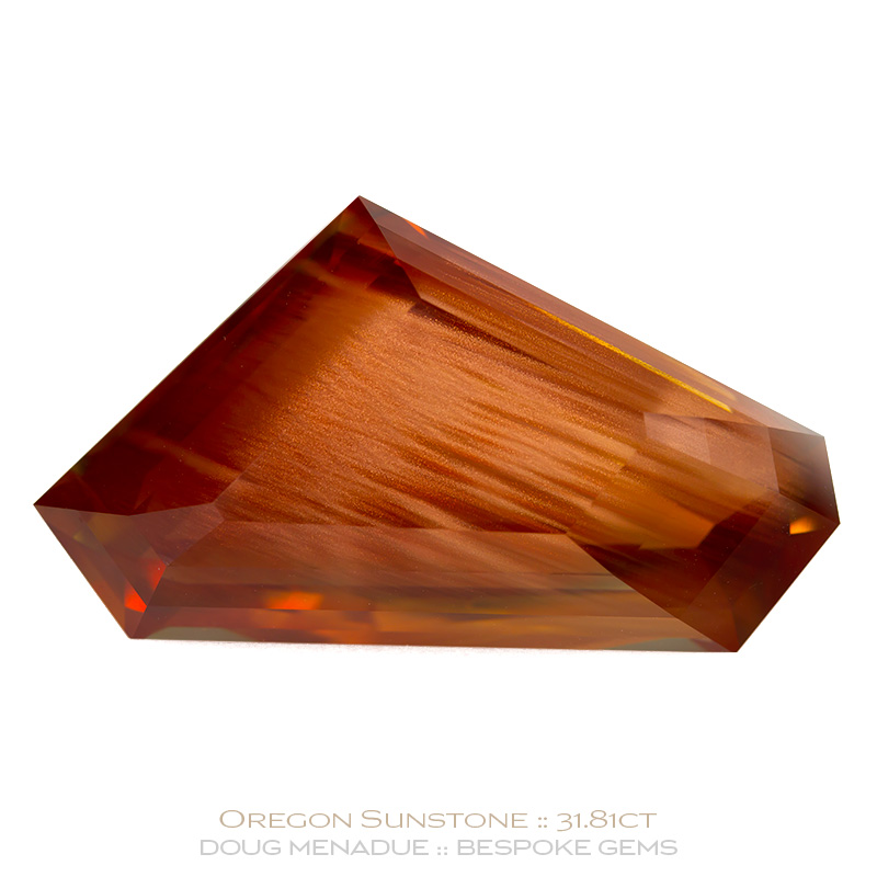 Sunstone With Copper Schiller, Step Cut, Oregon, 31.81 Carats, 31x17.27x10.01mm, #1041, A very fine natural Sunstone With Copper Schiller which has been cut in the wonderful Step Cut design. Doug Menadue :: Bespoke Gems :: WWW.BESPOKE-GEMS.COM - Finest Precision Custom Gemcutting Based In Sydney Australia