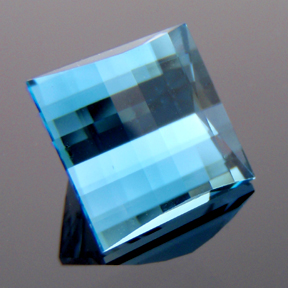 Blue Topaz, Mock Check Square, #105 - Doug Menadue :: Bespoke Gems - Master gemcutter and lapidary artist specialising in fine custom cut precision gems from a wide range of select facet gem rough. Located in Sydney, Australia.