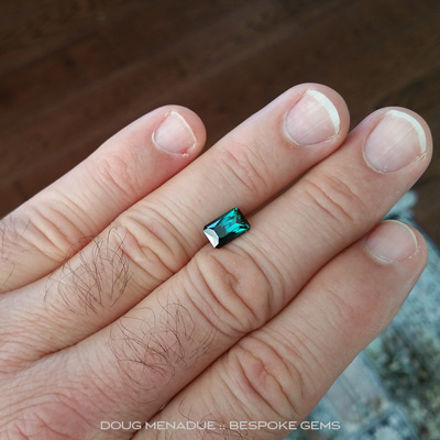 Blue Green Tourmaline, Rectangle Scissor Chevron, Afghanistan, 2.73 Carats, 9.63x6.10x5.66mm, #1060, A wonderful beautiful Tourmalines cut in the Rectangle Scissor Chevron design. Doug Menadue :: Bespoke Gems :: WWW.BESPOKE-GEMS.COM - Finest Precision Custom Gemcutting Based In Sydney Australia
