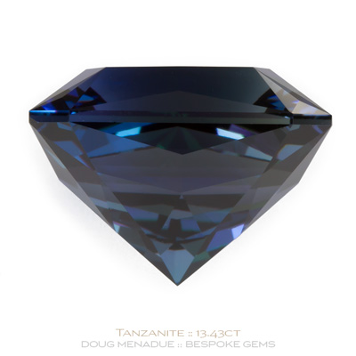 Tanzanite, Star Crossed Rectangle, Tanzania, Star Crossed Rectangle Carats, 14.36x11.49x10.39mm, #1064, A very fine natural Tanzanite which has been cut in the wonderful Star Crossed Rectangle design. Doug Menadue :: Bespoke Gems :: WWW.BESPOKE-GEMS.COM - Finest Precision Custom Gemcutting Based In Sydney Australia