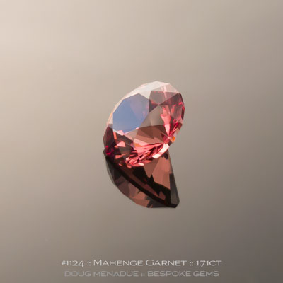 #1124, Mahenge Garnet, SG1 Round Brilliant, 1.71 Carats,  7.05x7.05x4.77mm, Pinkish Raspberry to Peach Colour Change - A beautiful natural Mahenge Garnet from Tanzania - Doug Menadue :: Bespoke Gems :: WWW.BESPOKE-GEMS.COM - Finest Quality Precision Custom Gemcutting and Lapidary Services Based In Sydney Australia