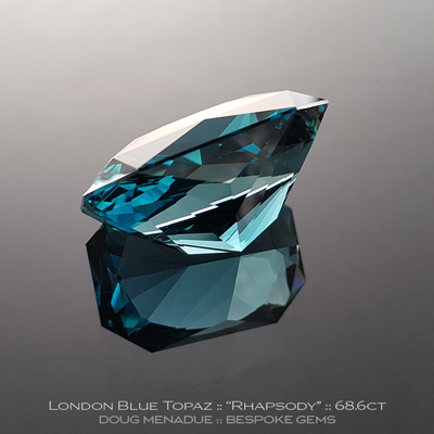 #1128, London Blue Topaz, Rhapsody - Lizunova Variation, 68.6 Carats,  29x19.32x15.65mm, London Blue Green Teal - A beautiful London Blue Topaz from Brazil - Doug Menadue :: Bespoke Gems :: WWW.BESPOKE-GEMS.COM - Finest Quality Precision Custom Gemcutting and Lapidary Services Based In Sydney Australia