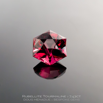 #1131, Rubellite Tourmaline, Custom Hexagonal Dome, 7.43 Carats,  11.44x11.43x9.02mm, Raspberry Pink Red - A beautiful Rubellite Tourmaline from Nigeria - Doug Menadue :: Bespoke Gems :: WWW.BESPOKE-GEMS.COM - Finest Quality Precision Custom Gemcutting and Lapidary Services Based In Sydney Australia