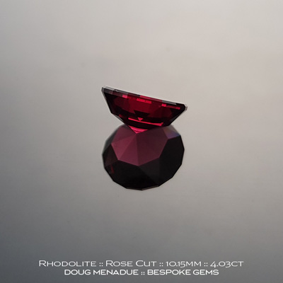 #1141, Rhodolite Garnet, Rose Cut, 4.03 Carats,  10.15x10.15mm, Raspberry Pink Red - A beautiful Rhodolite Garnet from Tanzania - Doug Menadue :: Bespoke Gems :: WWW.BESPOKE-GEMS.COM - Finest Quality Precision Custom Gemcutting and Lapidary Services Based In Sydney Australia
