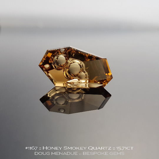 1167, Honey Smokey Quartz, Fantasy Cut, 15.71 Carats,  24.09x13.35x8.38mm, Golden Honey Smokey - A beautiful Honey Smokey Quartz from Brazil - Doug Menadue :: Bespoke Gems :: WWW.BESPOKE-GEMS.COM - Finest Quality Precision Custom Gemcutting and Lapidary Services Based In Sydney Australia