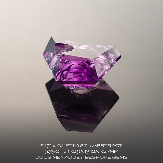 #1171, Amethyst Purple, Abstract, 9.35 Carats, 17.29X13.12X7.27mm - A beautiful natural Amethyst from the gemfields around Brazil - Doug Menadue :: Bespoke Gems :: WWW.BESPOKE-GEMS.COM - Finest Quality Precision Custom Gemcutting and Lapidary Services Based In Sydney Australia