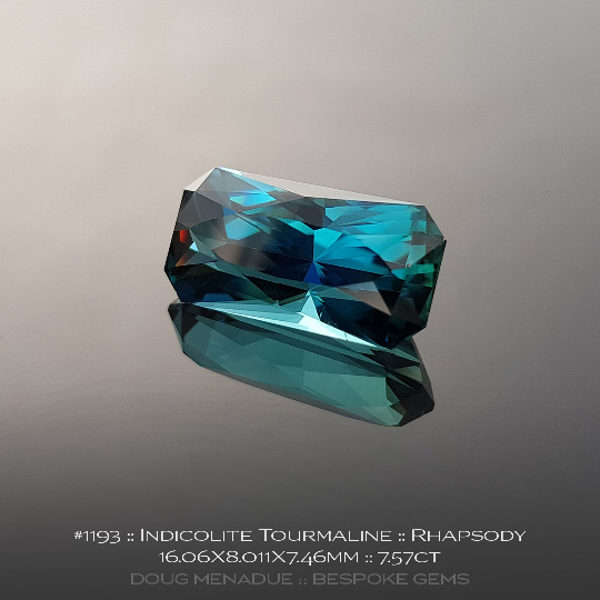 #1193, Indicolite Tourmaline Blue, Rhapsody, 7.57 Carats, 16.06X8.01X7.46mm - A beautiful natural Indicolite Tourmaline from the gemfields around Afghanistan - Doug Menadue :: Bespoke Gems :: WWW.BESPOKE-GEMS.COM - Finest Quality Precision Custom Gemcutting and Lapidary Services Based In Sydney Australia