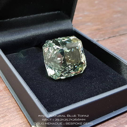 #1197, Topaz, Regulus Maximus, 156 Carats, 29.2X25.7X26.6mm, Blue Green - A beautiful natural Topaz from the gemfields around O'Briens Creek, North Queensland, Australia - Doug Menadue :: Bespoke Gems :: WWW.BESPOKE-GEMS.COM - Finest Quality Precision Custom Gemcutting and Lapidary Services Based In Sydney Australia