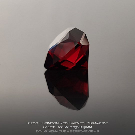 #1200, Garnet, Bravery, 6.14 Carats, 13.16X13.11X10.41mm, Crimson Red - A beautiful natural Garnet from the gemfields of Africa - Doug Menadue :: Bespoke Gems :: WWW.BESPOKE-GEMS.COM - Finest Quality Precision Custom Gemcutting and Lapidary Services Based In Sydney Australia