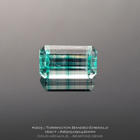 1203, Emerald Banded Green and Clear, Emerald Cut, 1.62 Carats, 8.83X5.09X4.60mm - A beautiful natural Emerald from the gemfields around Torrington, NSW, Australia - Doug Menadue :: Bespoke Gems :: WWW.BESPOKE-GEMS.COM - Finest Quality Precision Custom Gemcutting and Lapidary Services Based In Sydney Australia
