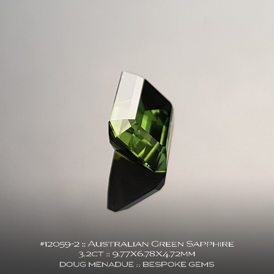 #12059-2, Australian Green Sapphire, Emerald Cut, 3.2 Carats, 9.77X6.78X4.72mm - A beautiful natural Australian Sapphire from the gemfields around Rubyvale, Central Queensland, Australia - Doug Menadue :: Bespoke Gems :: WWW.BESPOKE-GEMS.COM - Finest Quality Precision Custom Gemcutting and Lapidary Services Based In Sydney Australia