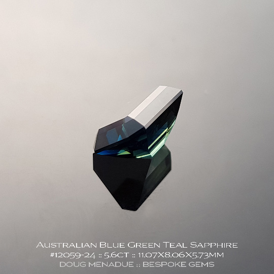 #12059-24, Australian Sapphire, Emerald Cut, 5.60 Carats, 11.07X8.06X5.73mm, Blue - A beautiful natural Australian Sapphire from the gemfields around Rubyvale, Central Queensland, Australia - Doug Menadue :: Bespoke Gems :: WWW.BESPOKE-GEMS.COM - Finest Quality Precision Custom Gemcutting and Lapidary Services Based In Sydney Australia