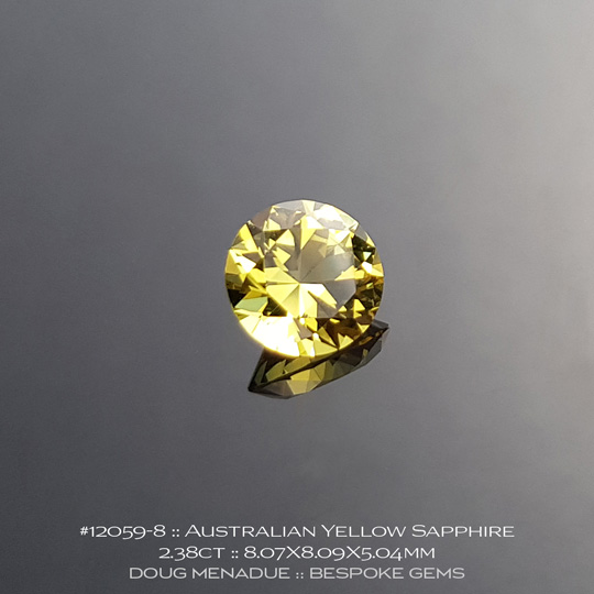12059-8, Australian Bright Yellow Sapphire, Round Brilliant, 2.38 Carats, 8.07X8.09X5.04mm - A beautiful natural Australian Sapphire from the gemfields around