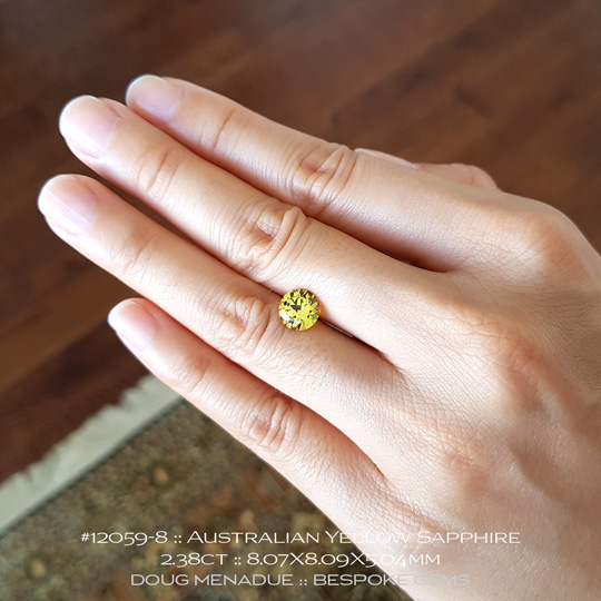 #12059-8, Australian Sapphire, Round Brilliant, 2.38 Carats, 8.07X8.09X5.04mm, Bright Yellow - A beautiful natural Australian Sapphire from the gemfields around