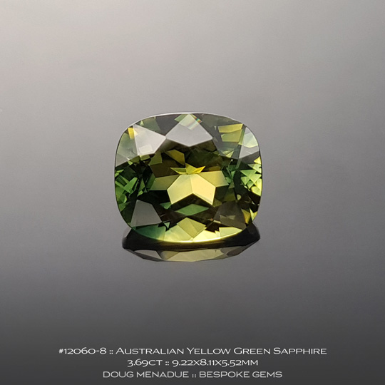12060-8, Australian Sapphire, Rectangle Cushion, 3.69 Carats, 9.22X8.11X5.52mm, Parti Colour - Yellow Green - A beautiful natural Australian Sapphire from the gemfields around Rubyvale, Central Queensland, Australia - Doug Menadue :: Bespoke Gems :: WWW.BESPOKE-GEMS.COM - Finest Quality Precision Custom Gemcutting and Lapidary Services Based In Sydney Australia