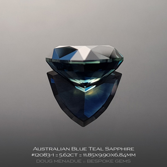 #12083-1, Australian Sapphire, Trillion, 5.62 Carats, 11.85x9.90x6.84mm, Blue Teal - A beautiful natural Australian Sapphire from the gemfields around Rubyvale, Central Queensland, Australia - Doug Menadue :: Bespoke Gems :: WWW.BESPOKE-GEMS.COM - Finest Quality Precision Custom Gemcutting and Lapidary Services Based In Sydney Australia