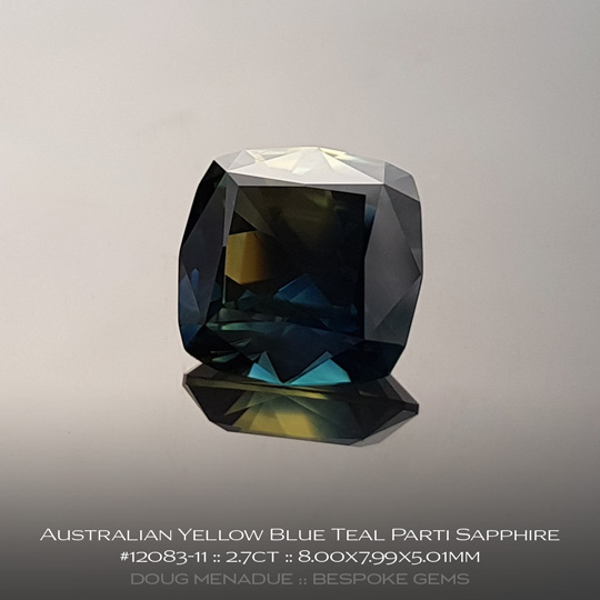 #12083-11, Australian Sapphire, Square Cushion, 2.7 Carats, 8.00X7.99X5.01mm, Yellow Blue Teal Parti - A beautiful natural Australian Sapphire from the gemfields around Rubyvale, Central Queensland, Australia - Doug Menadue :: Bespoke Gems :: WWW.BESPOKE-GEMS.COM - Finest Quality Precision Custom Gemcutting and Lapidary Services Based In Sydney Australia