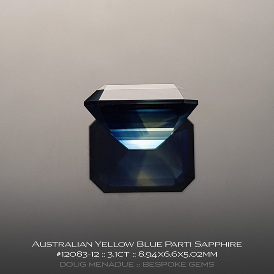 #12083-12, Australian Sapphire, Emerald Cut, 3.1 Carats, 8.94X6.6X5.02mm, Yellow Blue Parti - A beautiful natural Australian Sapphire from the gemfields around Rubyvale, Central Queensland, Australia - Doug Menadue :: Bespoke Gems :: WWW.BESPOKE-GEMS.COM - Finest Quality Precision Custom Gemcutting and Lapidary Services Based In Sydney Australia