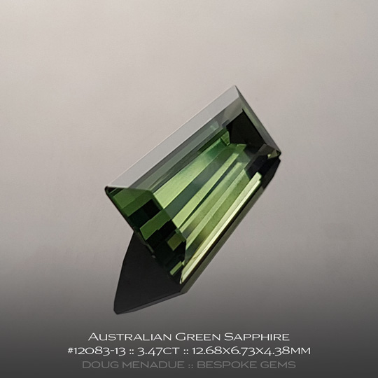#12083-13, Australian Sapphire, Tapered Baguette, 3.47 Carats, 12.68X6.73X4.38mm, Green - A beautiful natural Australian Sapphire from the gemfields around Rubyvale, Central Queensland, Australia - Doug Menadue :: Bespoke Gems :: WWW.BESPOKE-GEMS.COM - Finest Quality Precision Custom Gemcutting and Lapidary Services Based In Sydney Australia