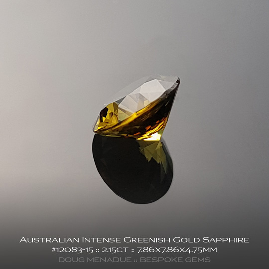 #12083-15, Australian Sapphire, Round Brilliant, 2.15 Carats, 7.86X7.86X4.75mm, Intense Greenish Gold - A beautiful natural Australian Sapphire from the gemfields around Rubyvale, Central Queensland, Australia - Doug Menadue :: Bespoke Gems :: WWW.BESPOKE-GEMS.COM - Finest Quality Precision Custom Gemcutting and Lapidary Services Based In Sydney Australia