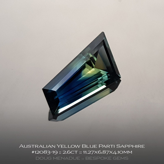 12083-19, Australian Sapphire, Fancy Tapered Baguette, 2.6 Carats, 11.27X6.87X4.10mm, Yellow Blue Parti - A beautiful natural Australian Sapphire from the gemfields around Rubyvale, Central Queensland, Australia - Doug Menadue :: Bespoke Gems :: WWW.BESPOKE-GEMS.COM - Finest Quality Precision Custom Gemcutting and Lapidary Services Based In Sydney Australia