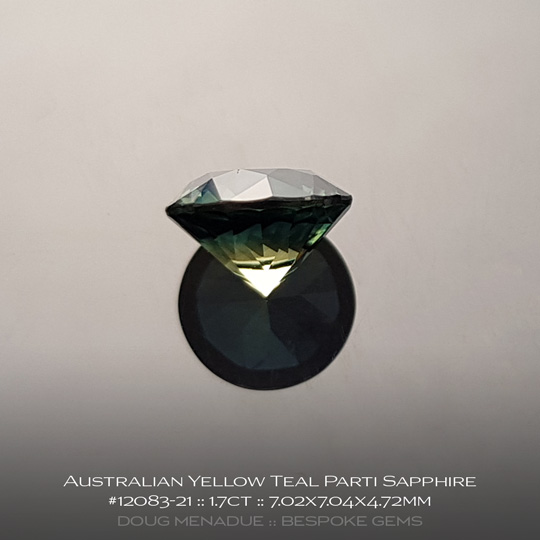 #12083-21, Australian Sapphire, Round Brilliant, 1.7 Carats, 7.02X7.04X4.72mm, Yellow Teal Parti - A beautiful natural Australian Sapphire from the gemfields around Rubyvale, Central Queensland, Australia - Doug Menadue :: Bespoke Gems :: WWW.BESPOKE-GEMS.COM - Finest Quality Precision Custom Gemcutting and Lapidary Services Based In Sydney Australia