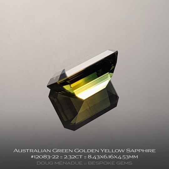 #12083-22, Australian Sapphire, Emerald Cut, 2.32 Carats, 8.43X6.16X4.53mm,Green Golden Yellow - A beautiful natural Australian Sapphire from the gemfields around Rubyvale, Central Queensland, Australia - Doug Menadue :: Bespoke Gems :: WWW.BESPOKE-GEMS.COM - Finest Quality Precision Custom Gemcutting and Lapidary Services Based In Sydney Australia