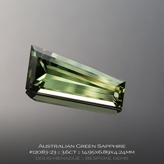 12083-23, Australian Sapphire, Fancy Tapered Baguette, 3.6 Carats, 14.95X6.89X4.24mm, Green - A beautiful natural Australian Sapphire from the gemfields around Rubyvale, Central Queensland, Australia - Doug Menadue :: Bespoke Gems :: WWW.BESPOKE-GEMS.COM - Finest Quality Precision Custom Gemcutting and Lapidary Services Based In Sydney Australia