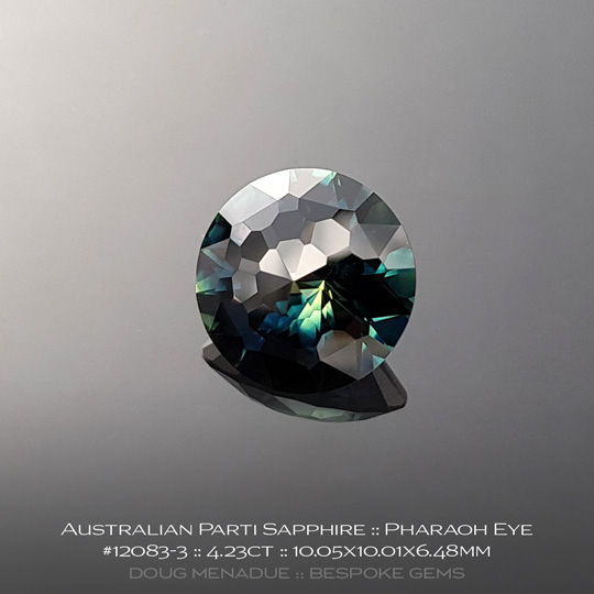 12083-3, Australian Sapphire, Pharaoh Eye, 4.23 Carats, 10.05X10.01X6.48mm, Yellow Blue Teal Parti - A beautiful natural Australian Sapphire from the gemfields around Rubyvale, Central Queensland, Australia - Doug Menadue :: Bespoke Gems :: WWW.BESPOKE-GEMS.COM - Finest Quality Precision Custom Gemcutting and Lapidary Services Based In Sydney Australia