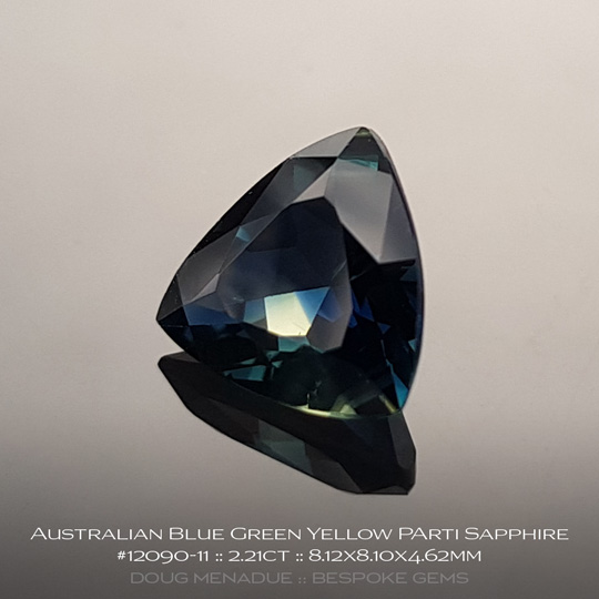 #12090-11, Blue Green Sapphire, Trillion, 2.21 Carats, 13.16X13.11X10.41mm - A beautiful natural Rubyvale, Central Queensland, Australian Sapphire - Doug Menadue :: Bespoke Gems - WWW.BESPOKE-GEMS.COM - Precision Gemcutting and Lapidary Services In Sydney Australia