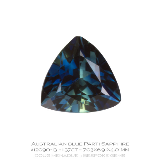 #12090-13, Blue Parti Sapphire, Trillion, 1.37 Carats, 13.16X13.11X10.41mm - A beautiful natural Rubyvale, Central Queensland, Australian Sapphire - Doug Menadue :: Bespoke Gems - WWW.BESPOKE-GEMS.COM - Precision Gemcutting and Lapidary Services In Sydney Australia