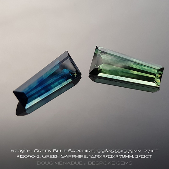 #12090-2, Green Sapphire, Tapered Baguette, 2.92 Carats, 13.16X13.11X10.41mm - A beautiful natural Rubyvale, Central Queensland, Australian Sapphire - Doug Menadue :: Bespoke Gems - WWW.BESPOKE-GEMS.COM - Precision Gemcutting and Lapidary Services In Sydney Australia
