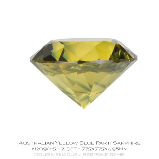 #12090-5, Yellow Blue Parti Sapphire, Round Brilliant, 2.15 Carats, 13.16X13.11X10.41mm - A beautiful natural Rubyvale, Central Queensland, Australian Sapphire - Doug Menadue :: Bespoke Gems - WWW.BESPOKE-GEMS.COM - Precision Gemcutting and Lapidary Services In Sydney Australia