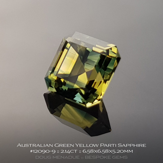 #12090-9, Green Yellow Parti Sapphire, Square Step Cut, 2.14 Carats, 13.16X13.11X10.41mm - A beautiful natural Rubyvale, Central Queensland, Australian Sapphire - Doug Menadue :: Bespoke Gems - WWW.BESPOKE-GEMS.COM - Precision Gemcutting and Lapidary Services In Sydney Australia