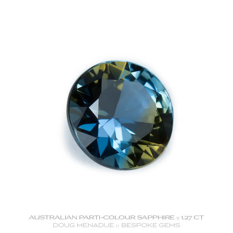 Blue Orange Parti Sapphire, Round Brilliant, Rubyvale, Queensland, Australia, 1.27 Carats, 6.5X6.5X3.95mm, #12112-10, A beautiful natural Blue Orange Parti Sapphire from the Australian sapphire gemfields. Doug Menadue :: Bespoke Gems :: WWW.BESPOKE-GEMS.COM - Finest Precision Custom Gemcutting Based In Sydney Australia