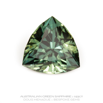 Green Sapphire, Trillion, Rubyvale, Central Queensland, Australia, 1.93 Carats, 7.7X7.7X4.71mm, #12112-15, A beautiful natural Green Sapphire from the Australian sapphire gemfields. Doug Menadue :: Bespoke Gems :: WWW.BESPOKE-GEMS.COM - Finest Precision Custom Gemcutting Based In Sydney Australia