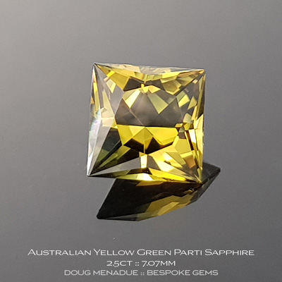 Yellow Green Parti Sapphire, Princess Cut, Rubyvale, Central Queensland, Australia, 2.5 Carats, 7.07X7.10X5.24mm, #12112-22, A beautiful natural Yellow Green Parti Sapphire from the Australian sapphire gemfields. Doug Menadue :: Bespoke Gems :: WWW.BESPOKE-GEMS.COM - Finest Precision Custom Gemcutting Based In Sydney Australia