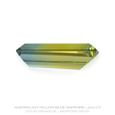 Yellow Blue Parti Sapphire, Tapered Baguette, Rubyvale, Queensland, Australia, 2.00 Carats, 11.4X5.2X3.65mm, #12112-28, A beautiful natural Yellow Blue Parti Sapphire from the Australian sapphire gemfields. Doug Menadue :: Bespoke Gems :: WWW.BESPOKE-GEMS.COM - Finest Precision Custom Gemcutting Based In Sydney Australia